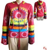 Colorful stripes spray print rib jacket
