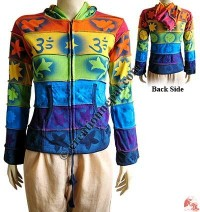 Multiple color full spray print rib jacket
