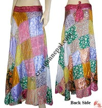 Silk patch-work sari open skirt