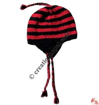 Woolen stripes simple ear hat