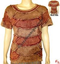 Simple patch-work design rib t-shirt