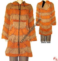 Patch-work design long rib jacket1