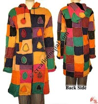 Patch-work design long rib jacket2