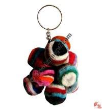 Mixed color felt beads key-ring