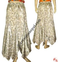 Sari silk triangular frills skirt