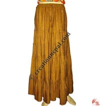 Cotton step joined long skirt