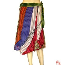 Cotton colorful stripes joined wrapper skirt