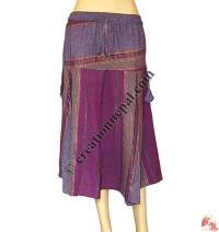 Length adjustable stripes cotton short skirt