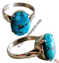 Tower design turquoise silver finger ring20