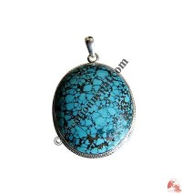 Oval shape turquoise silver pendant5