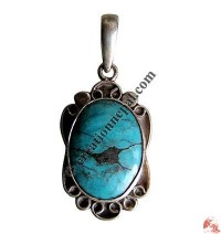 Oval shape turquoise butterfly silver pendant