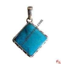 Square shape turquoise silver pendant