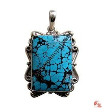 Butterfly design turquoise silver pendant2