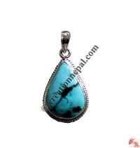 Heart shape turquoise silver pendant2