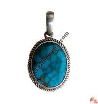 Oval shape turquoise silver pendant9