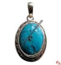 Oval shape turquoise silver pendant10