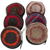 Hemp and wool round coin purse