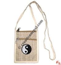Ying yang embroidery hemp passport bag