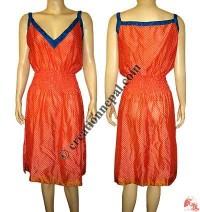 V-neck sari silk halter dress