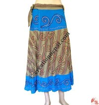 Fully embroidered cotton open wrapper skirt