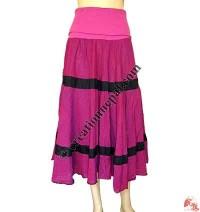 Rib-elastic waist cotton skirt