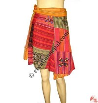Patch and block print cotton open wrapper skirt