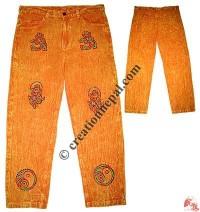 Shyama stonewash block print pant