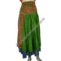 Sari silk two layer skirt