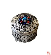 White metal filigree Small jewelry box