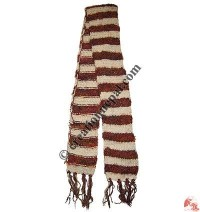 Art silk white stripes muffler