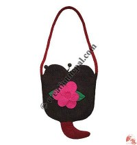 Flower felt heart bag