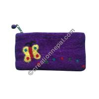 Flying butterfly felt purse
