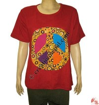Peace sign patch-work rib t-shirt