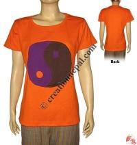 Ying-Yang design rib t-shirt