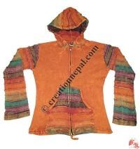 Rib hooded jacket