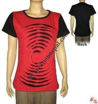 Layer-cut waves design rib t-shirt