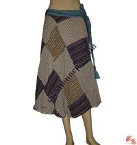 Patchwork khaddar wrapper skirt