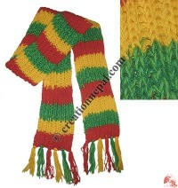 3-color stripes woolen muffler