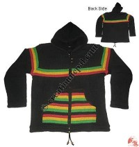 RASTA design woolen hooded jacket
