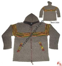 Mixed color stripes woolen hooded jacket1