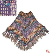 Colorful net design crochet poncho