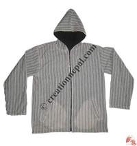 White khaddar stripes jacket