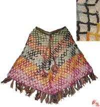 Colorful net woolen poncho