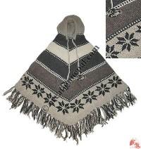 V-shape stripes woolen hooded poncho