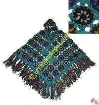 Colorful flower patch woolen hooded poncho