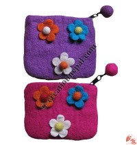 Felt flower coin purse