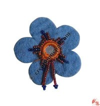 Glass beads decorated tiny felt brooch