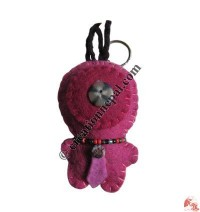 Doll with button felt key ring