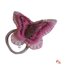 Beads decorated felt butterfly hair band