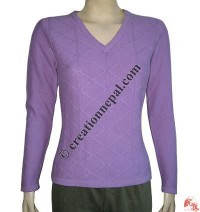 Ladies V-neck check sweater